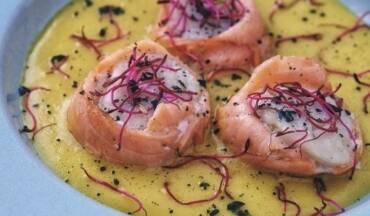 Capasanta e salmone
